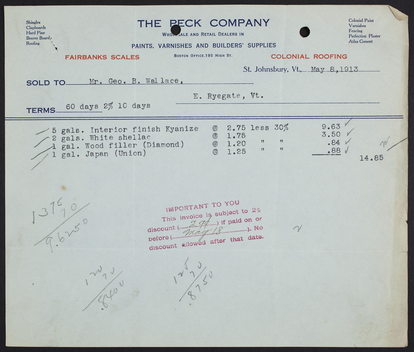 Billhead for The Peck Company, wholesale and retail dealers in paints, varnishes and builders' supplies, St. Johnsbury, Vermont, dated May 8, 1913