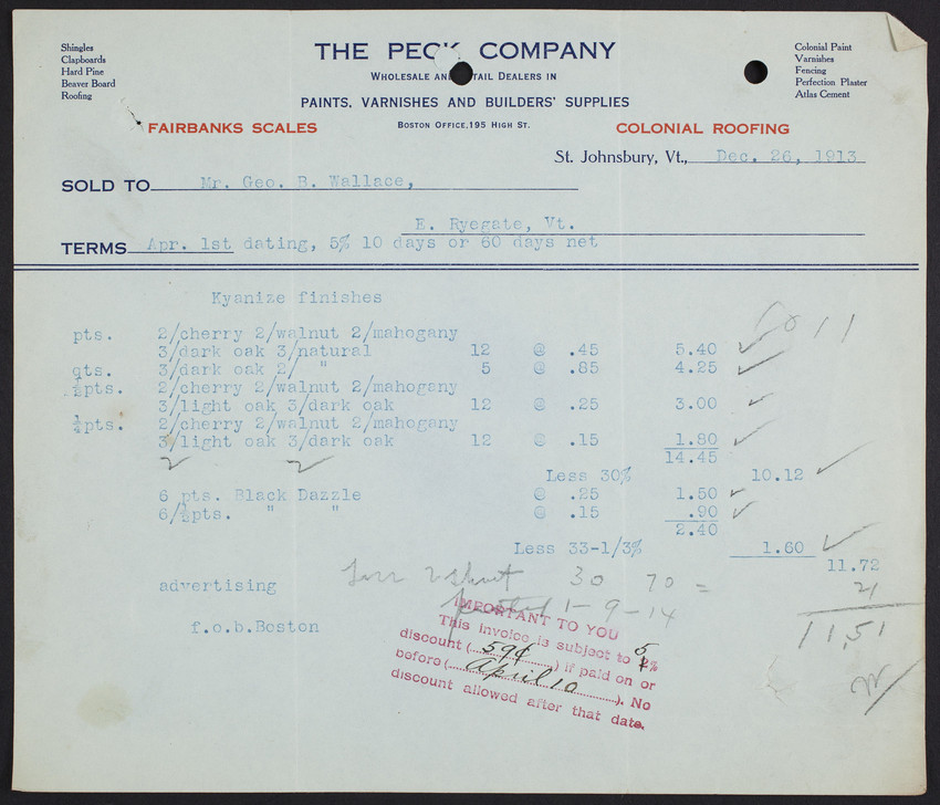 Billhead for The Peck Company, wholesale and retail dealers in paints, varnishes and builders' supplies, St. Johnsbury, Vermont, dated December 26, 1913