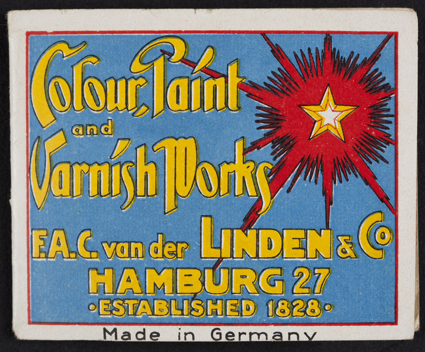 Transfers for F.A.C. Van der Linden & Co., colour, paint and varnish works, Hamburg, Germany