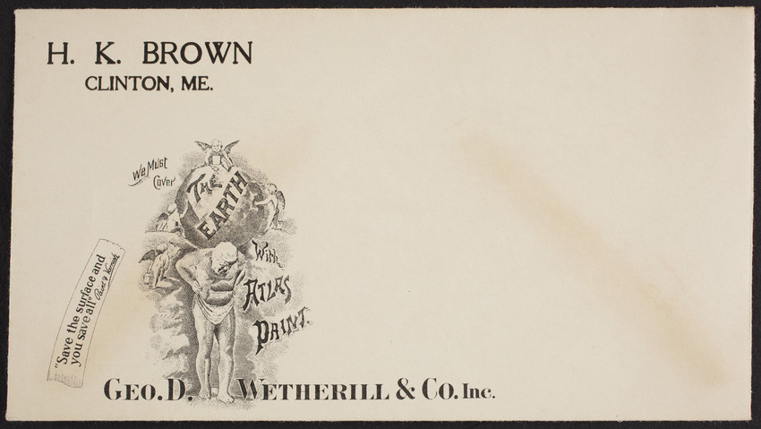 Envelope for Atlas Ready Mixed Paint, Geo. D. Wetherill & Co., Boston, Mass., undated