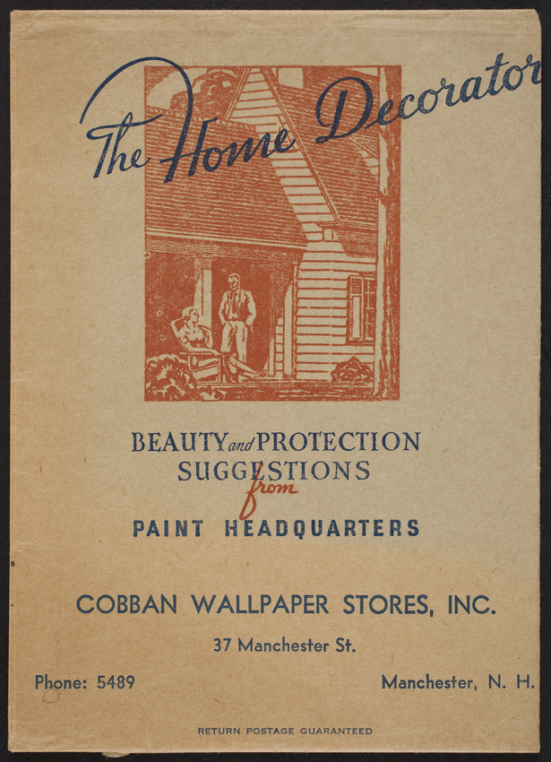 Envelope for The Home Decorator, Cobban Wallpaper Stores, Inc., 37 Manchester Street, Manchester, New Hampshire, undated