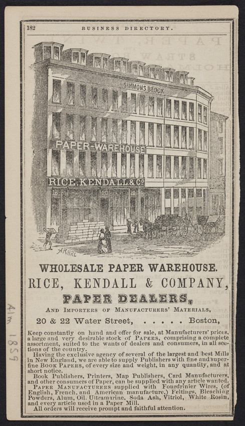 Advertisement for the Wholesale Paper Warehouse, Rice, Kendall & Company, paper dealers, 20 & 22 Water Street, Boston, Mass., 1859