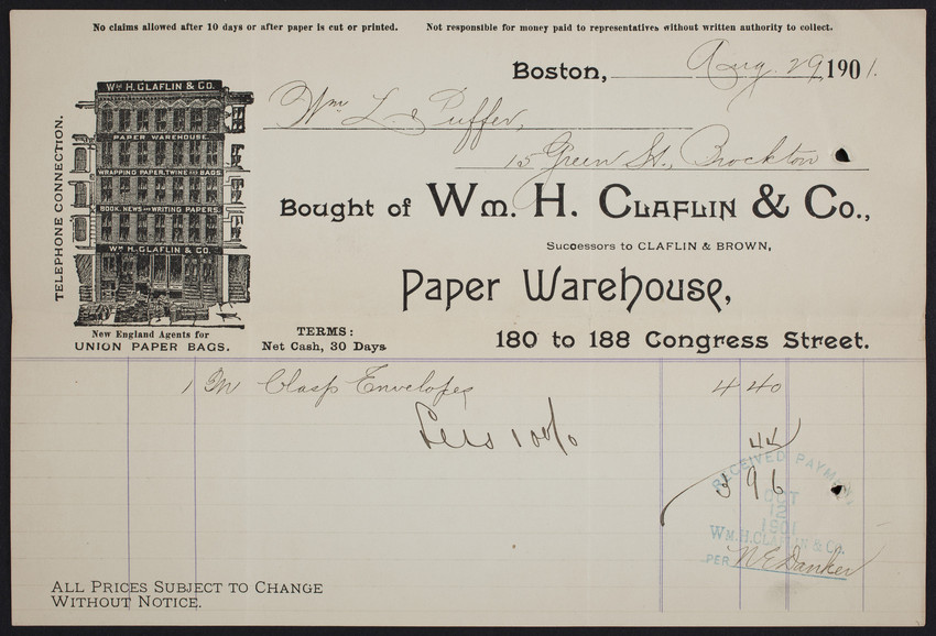 Billhead for Wm. H. Claflin & Co., paper warehouse, 180 to 188 Congress Street, Boston, Mass., dated August 29, 1901