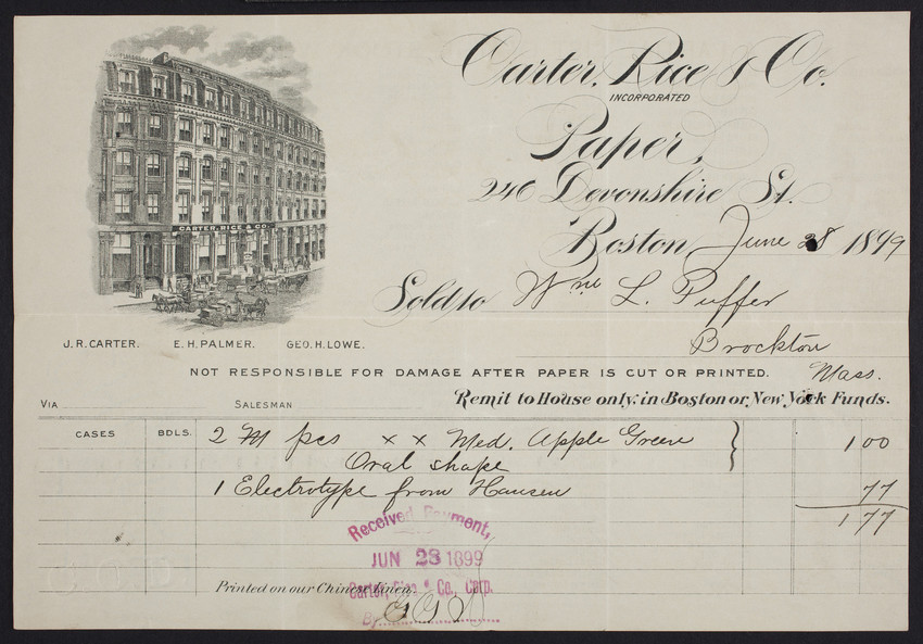Billhead for Carter, Rice & Co., paper, 246 Devonshire Street, Boston, Mass., dated June 28, 1899