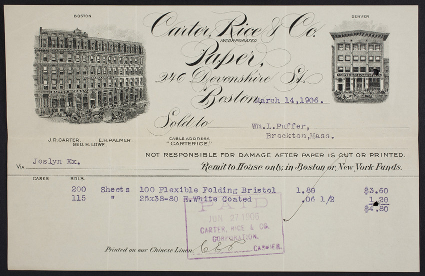 Billhead for Carter, Rice & Co., paper, 246 Devonshire Street, Boston, Mass., dated March 14, 1906