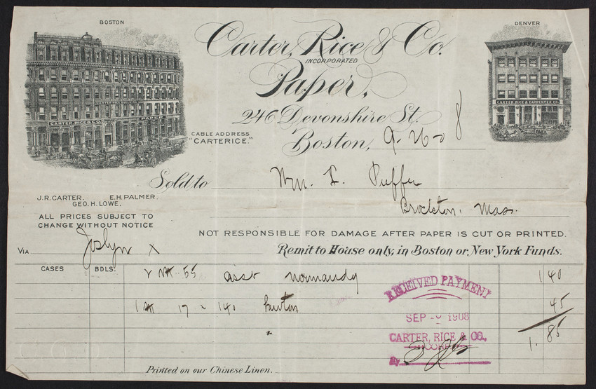 Billhead for Carter, Rice & Co., paper, 246 Devonshire Street, Boston, Mass., dated September 26, 1908