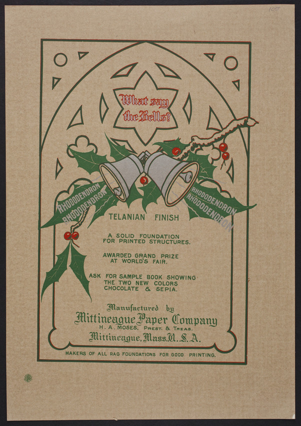 Sample for the Mittineague Paper Company, rag papers, Mittineague, Mass., December 1, 1904