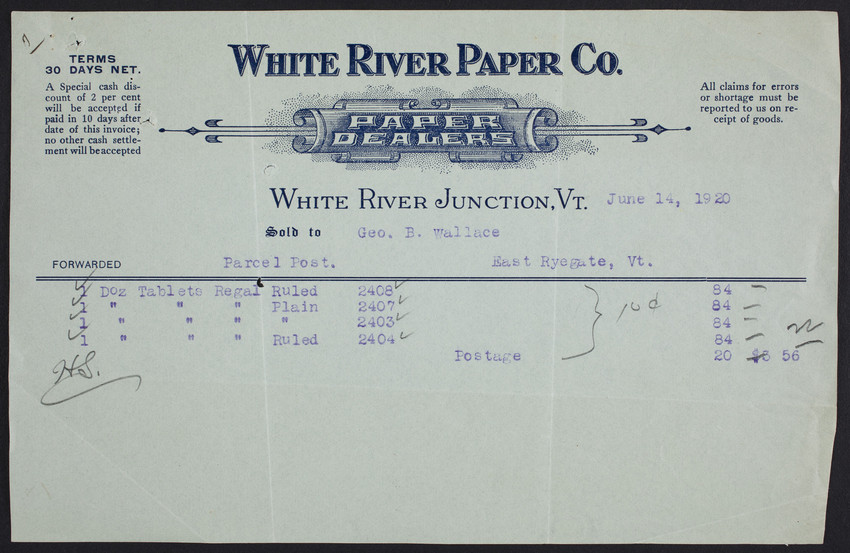 Billhead for the White River Paper Company, paper dealers, White River Junction, Vermont, dated June 14, 1920