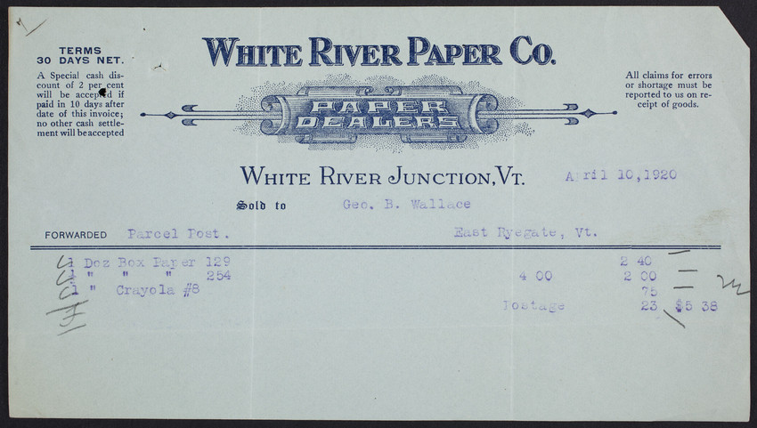Billhead for the White River Paper Company, paper dealers, White River Junction, Vermont, dated April 10, 1920
