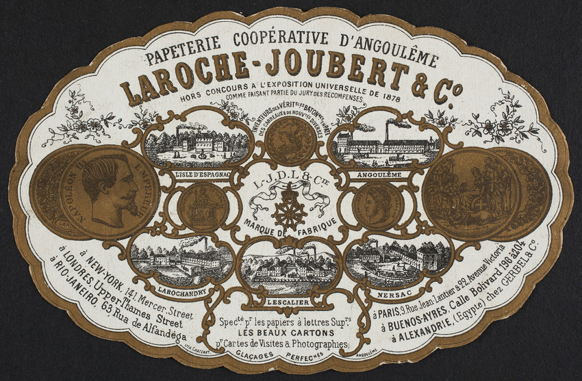Label for Papeterie Coopérative D'Angoulême, Laroche-Joubert & Co., Angoulême, France, undated