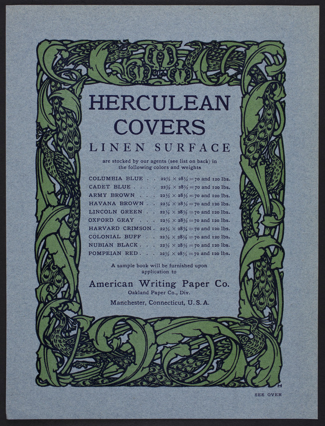 Herculean Covers Linen Surface, American Writing Paper Co., Manchester, Connecticut, undated