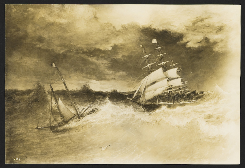 copy of painting of two ships