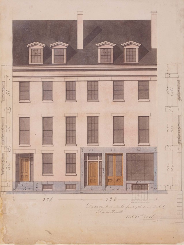 Front elevation and front wall sections of unidentified townhouses and store, designed by Charles Roath, location unknown, 1846