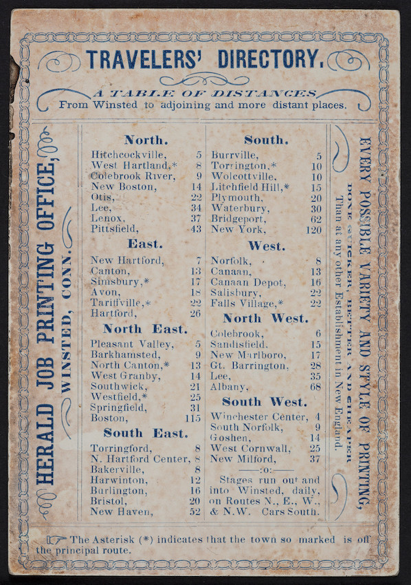 Trade card for the Herald Job Printing Office, Winsted, Connecticut, undated