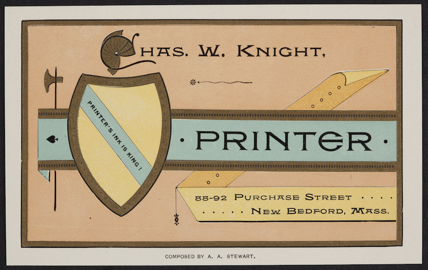 Label for Chas. W. Knight, printer, 88-92 Purchase Street, New Bedford, Mass., undated