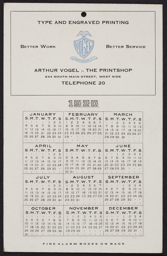 Trade card for Arthur Vogel, The Printshop, type and engraved printing, 234 South Main Street, Manchester, New Hampshire, 1920