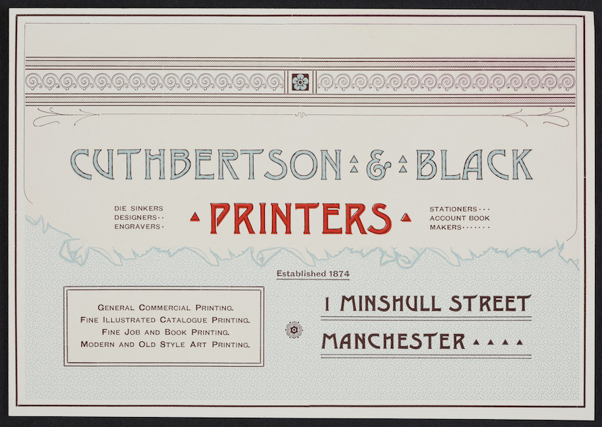 Trade card for Cuthbertson & Black, printers, 1 Minshull Street, Manchester, New Hampshire, undated