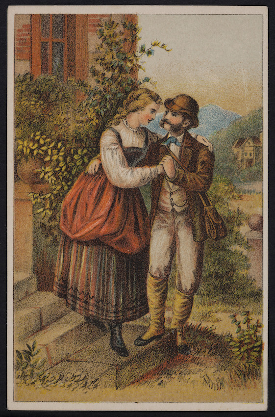 Sample card of a couple embracing, location unknown, undated