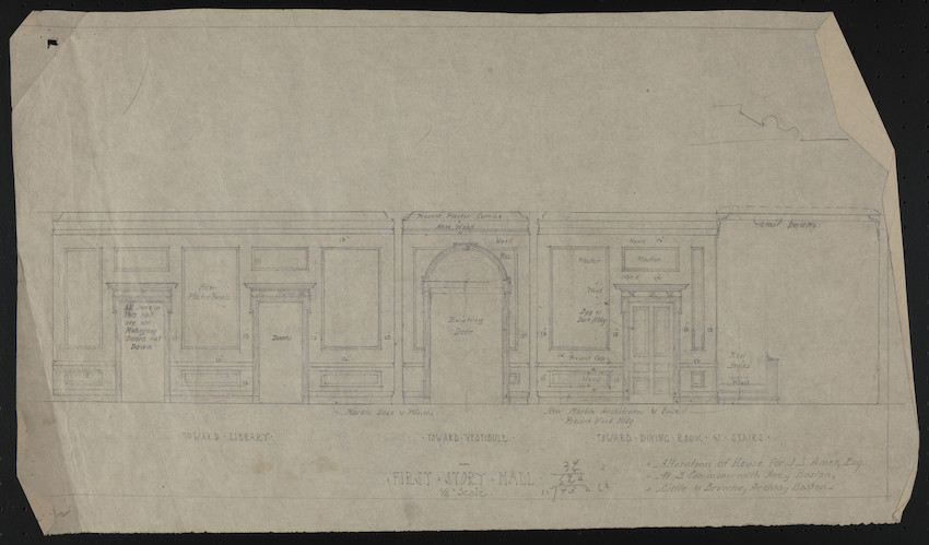 First Story Hall, Alteration of House of J.S. Ames, Esq. at 3 Commonwealth Ave., Boston, undated