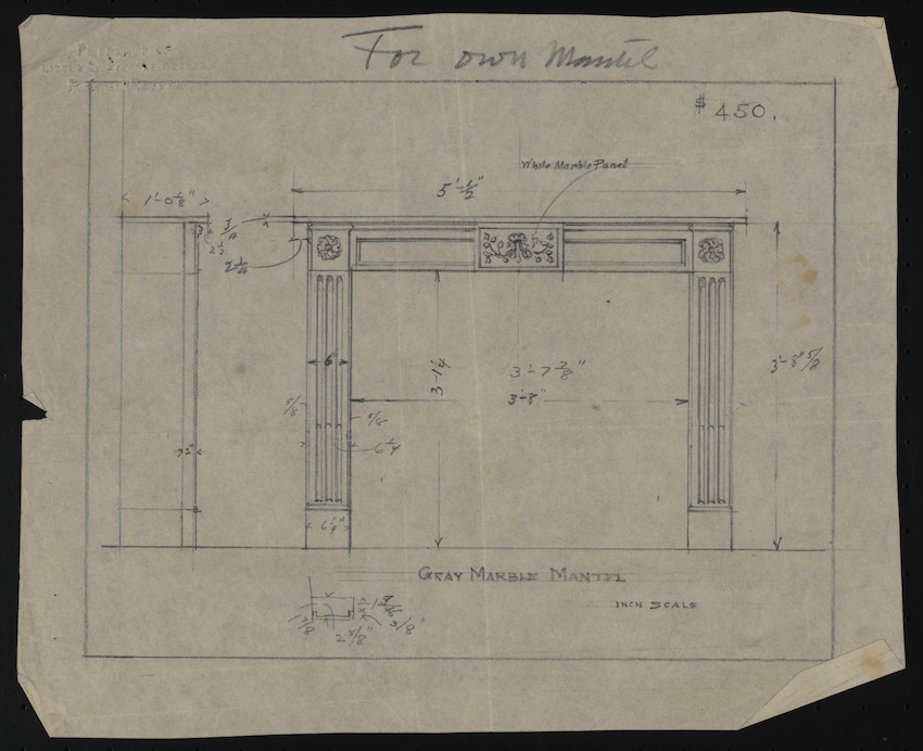 Gray Marble Mantel, Inch Scale, undated