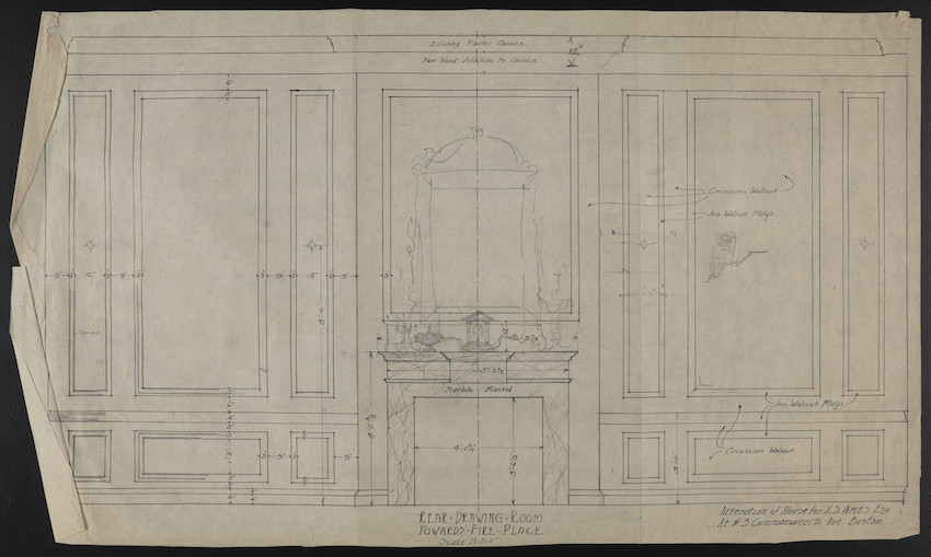 Rear Drawing Room Towards Fire Place, Alteration of House for J.S. Ames, Esq., at #3 Commonwealth Ave., Boston, undated