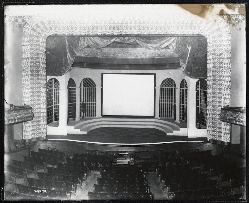 Interior view of the Estey Organ in the Shawmut Theatre, 364 Blue Hill Avenue, Roxbury, Mass., undated