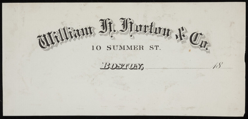 Letterhead for William H. Horton & Co., silk goods, 10 Summer Street, Boston, Mass., 1800s