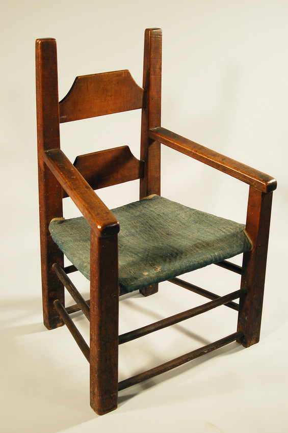 Shaved post and rung chair