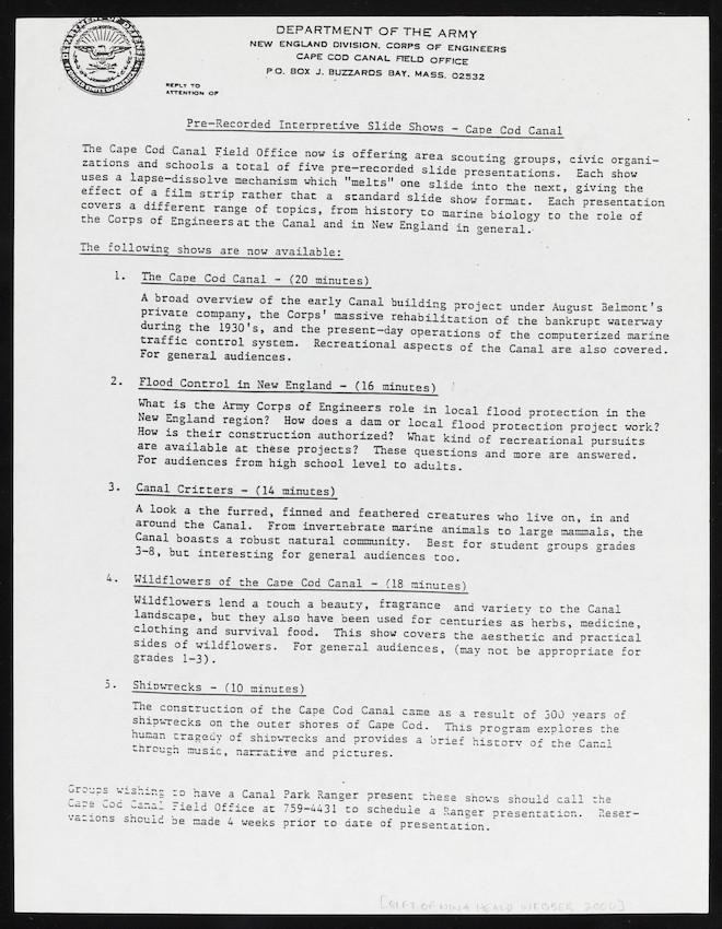 Pre-Recorded Interpretive Slide Shows flyer