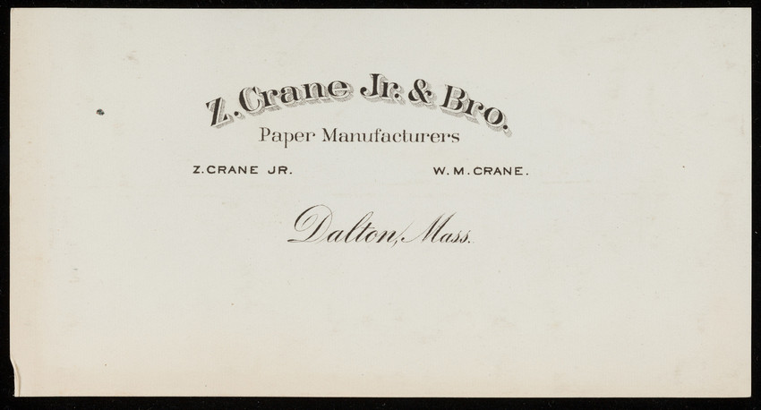 Letterhead for Z. Crane Jr. & Bro., paper manufacturers, Dalton, Mass., undated