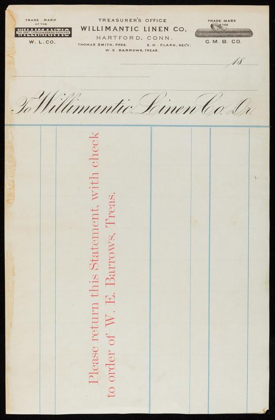 Billhead for the Treasurer's Office, Willimantic Linen Co., Dr., Hartford, Connecticut, 1800s