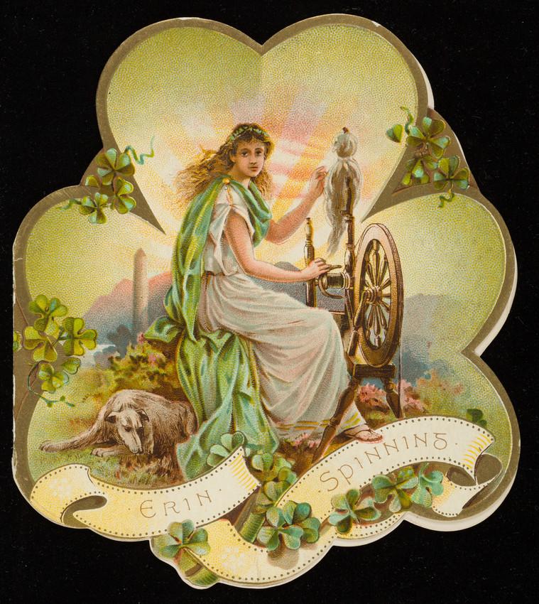 Erin spinning, Shamrock Irish Linens, John S. Brown & Sons, Belfast, Northern Ireland, 1890s