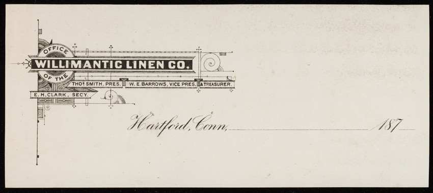 Letterhead for the Office of the Willimantic Linen Co., Hartford, Connecticut, 1870s