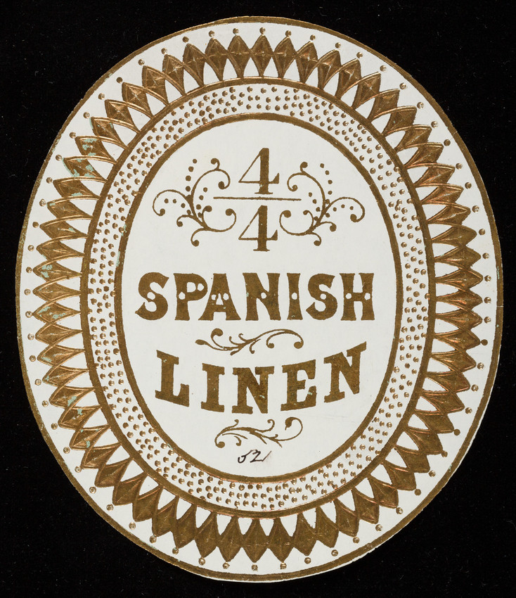 Label for 4/4 Spanish Linen, linen manufacturer, location unknown, undated