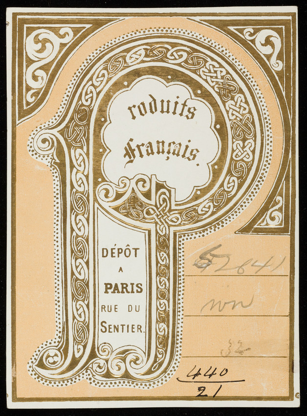 Label for Produits Français, silk manufacturer, Rue du Sentier, Paris, France, undated