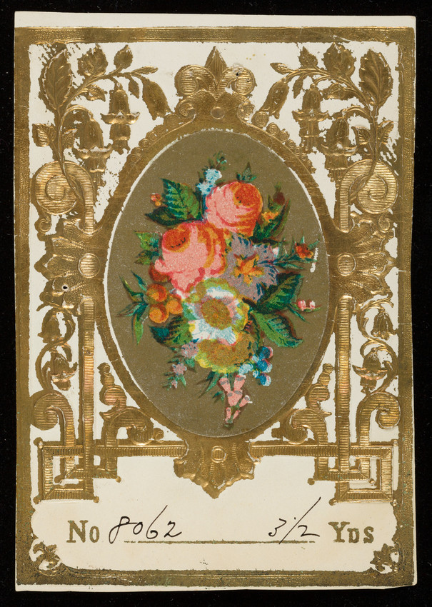 Label for unidentified silk manufacturer, flowers, location unknown, undated
