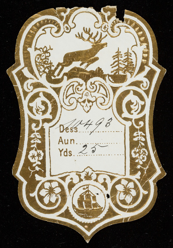 Label for unidenfied silk manufacturer, leaping stag, location unknown, undated