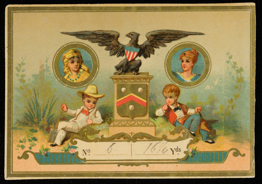 Labels for unidentified silk manufacturer, eagle and children, location unknown, undated