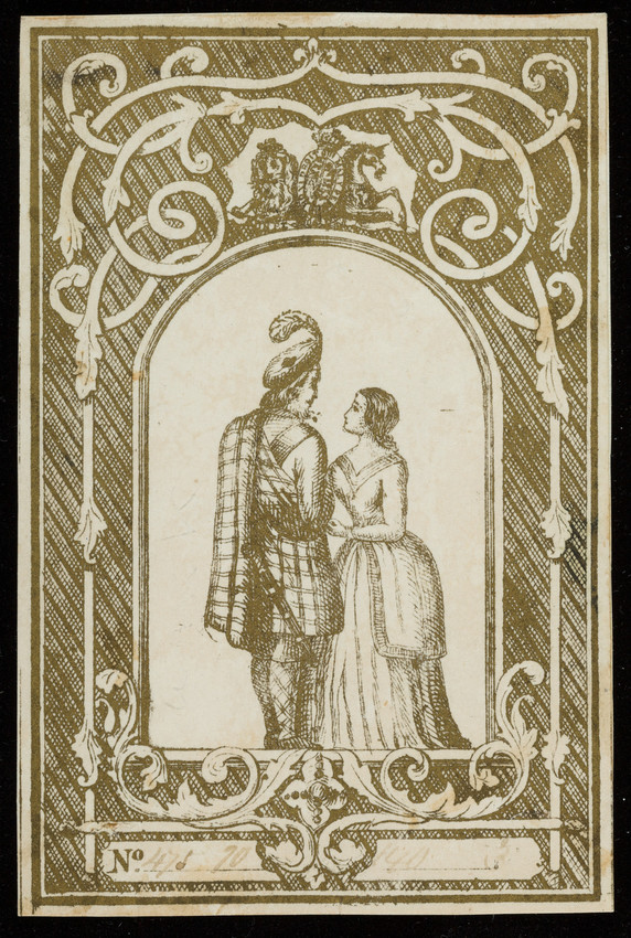 Label for unidentified silk manufacturer, couple, location unknown, undated