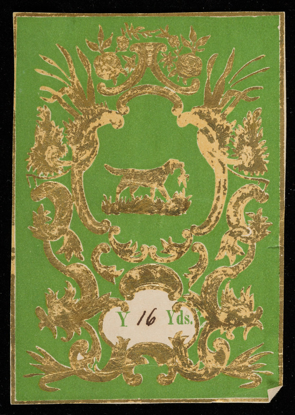 Label for unidentified silk manufacturer, hunting dog, location unknown, undated