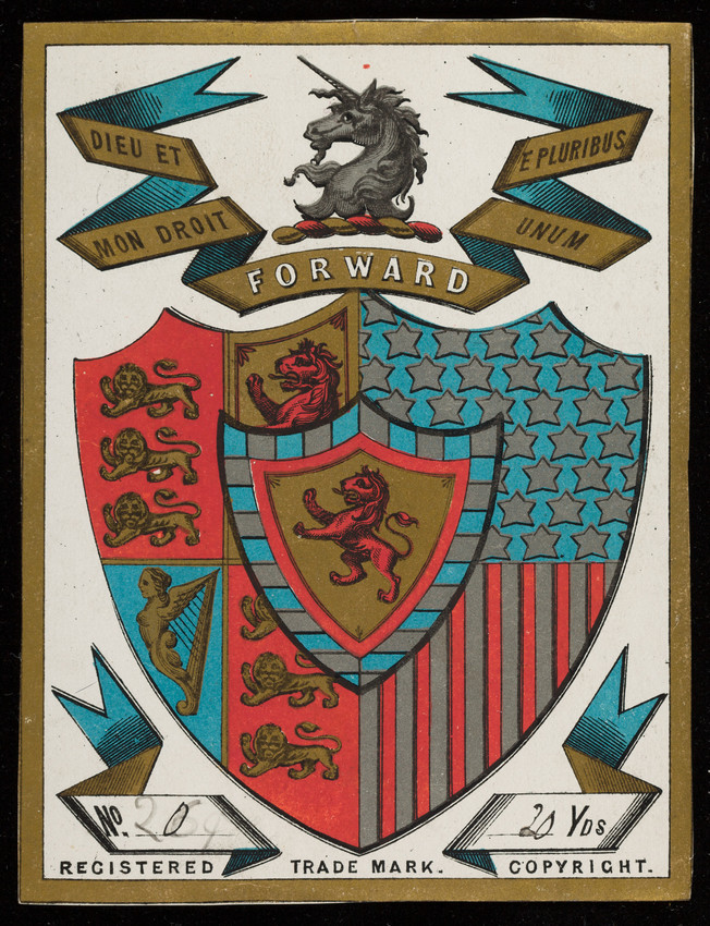 Label for unidentified silk manufacturer, coat of arms, location unknown, undated