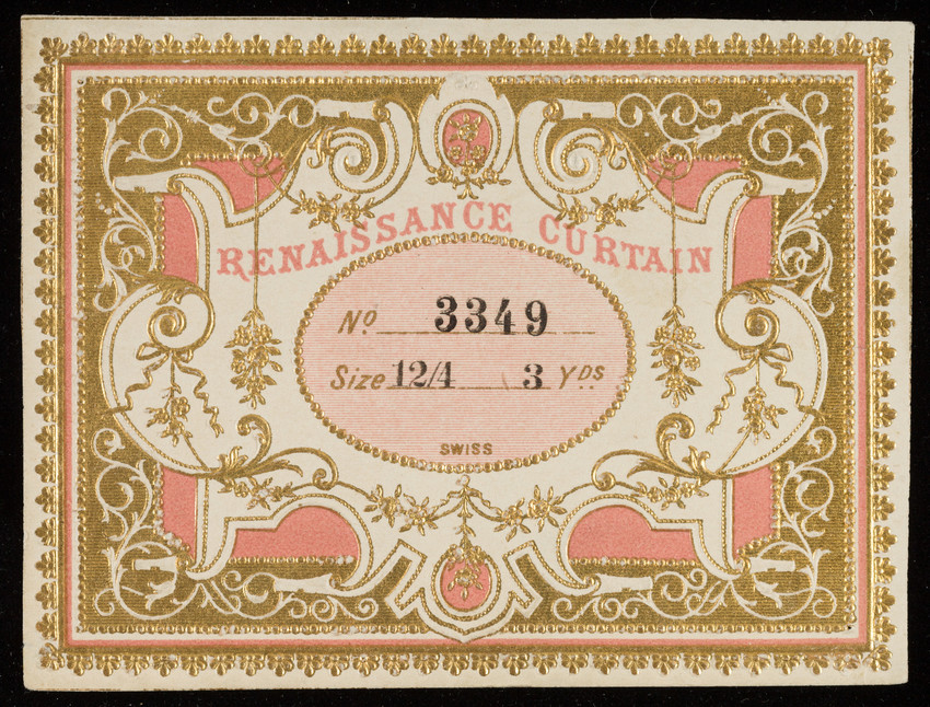 Label for Renaissance Curtain, silk manufacturer, location unknown, undated
