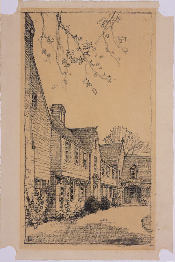 Perspective of entrance court of a house at Northeast Harbor, Maine, ca. 1929
