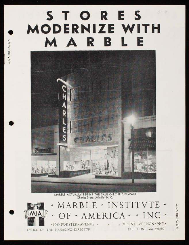 Stores modernize with marble, Marble Institute of America, Inc.,108 Forster Avenue, Mount Vernon, New York