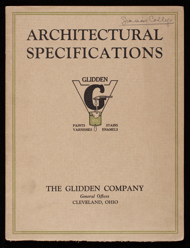 Architectural specifications, The Glidden Company, Cleveland, Ohio