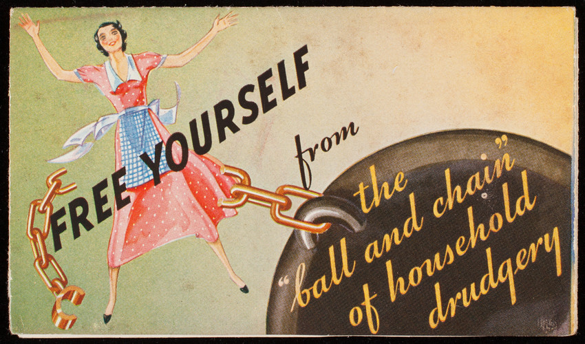 Free yourself from the ball and chain of household drudgery, Congoleum Rugs, Congoleum-Nairn Inc., Kearny, New Jersey