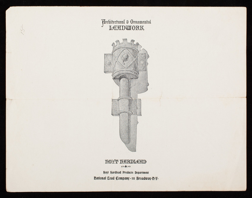 Architectural & ornamental leadwork, Hoyt Hardlead, Hoyt Hardlead Products Department, National Lead Company, 111 Broadway, New York, New York