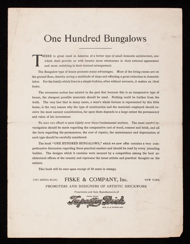 One hundred bungalows, Fiske & Company, Inc., New York