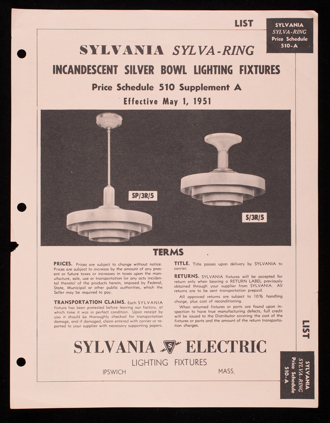 Sylvania Sylva-Ring Incandescent Silver Bowl Lighting Fixtures, price schedule 510 supplement A, Sylvania Electric Lighting Fixtures, Ipswich, Mass.