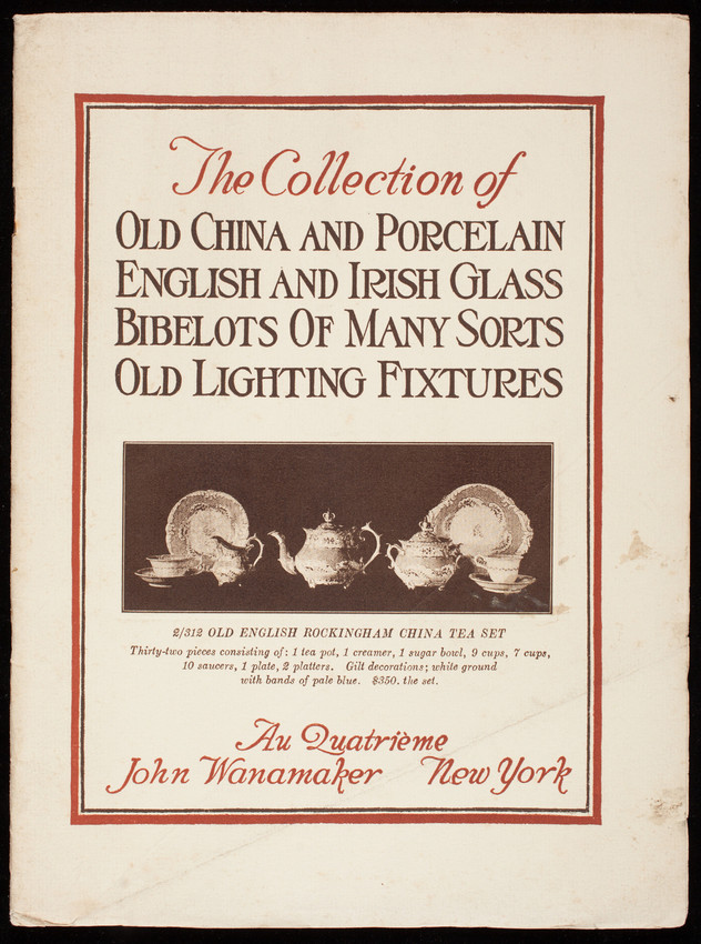 Collection of old china and porcelain English and Irish glass, bibelots of many sorts, old lighting fixtures, au quatrième, John Wanamaker, New York, New York, undated